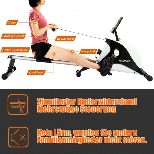 Merax Rowing Machine Folding Rudders Magnetic Braking System LCD Display 8-level Adjustment