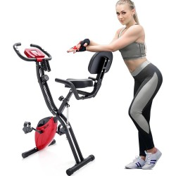 Merax X-Bike Magnetic Folding Fitness Bike 2.5 kg Flywheel LCD Display For Cardio Workout Cycling - Red