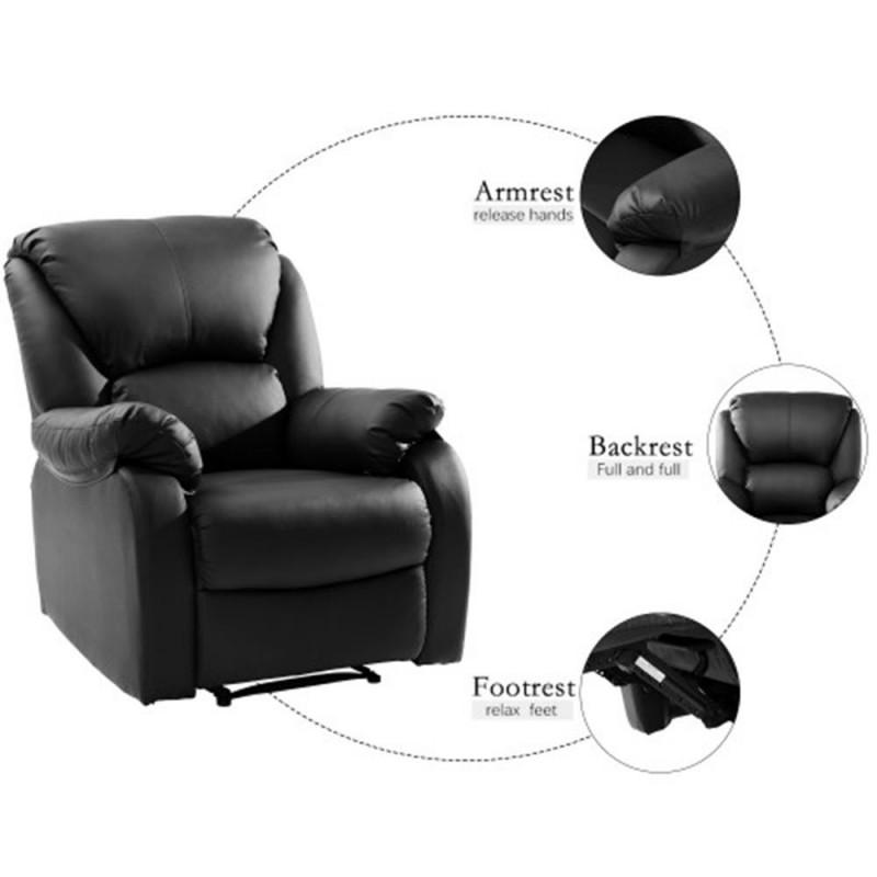 Push Back Tv Armchair Leather Sofa