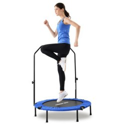"Merax 40"" Foldable Fitness Bouncing Trampoline With T-shaped Height-adjustable Bar Max Limit 100 KG"