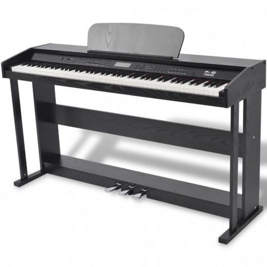 Digitalpiano mit 88 Tasten und Pedalen Schwarz Melaminplatte