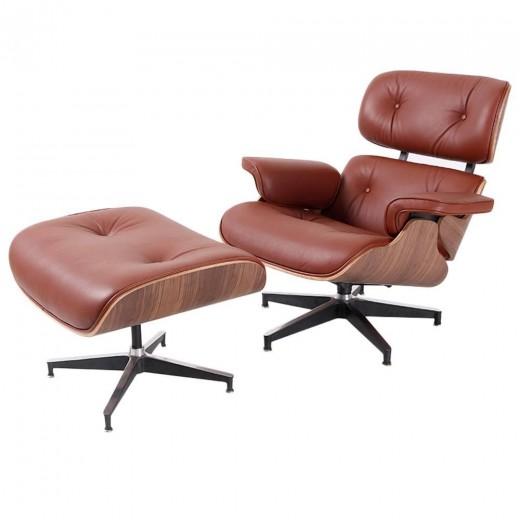 Eames  draaibare lounge stoel met voetenbank