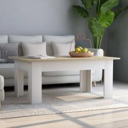 Couchtisch Weiß Sonoma-Eiche 100×60×42 cm Spanplatte