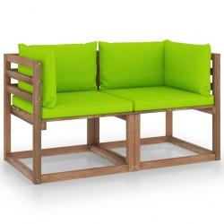 Garten-Palettensofa 2-Sitzer mit Kissen Hellgrün Kiefernholz