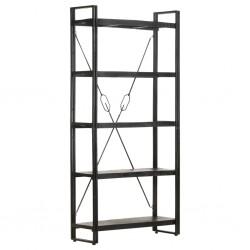 Bücherregal 5 Fächer Schwarz 90x30x180 cm Mango Massivholz