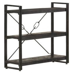 Bücherregal 3 Fächer Schwarz 90x30x80 cm Mango Massivholz