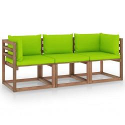Garten-Palettensofa 3-Sitzer mit Kissen Hellgrün Kiefernholz