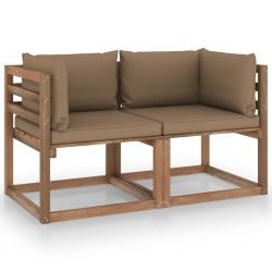 Garten-Palettensofa 2-Sitzer mit Kissen Taupe Kiefernholz