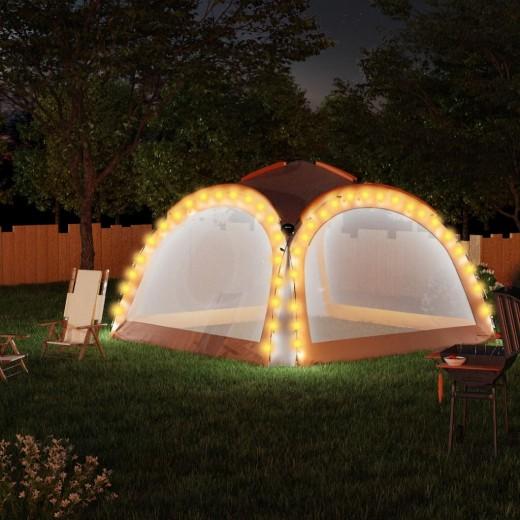 Partyzelt mit LED und 4 Seitenwänden 3,6x3,6x2,3 m Grau Orange