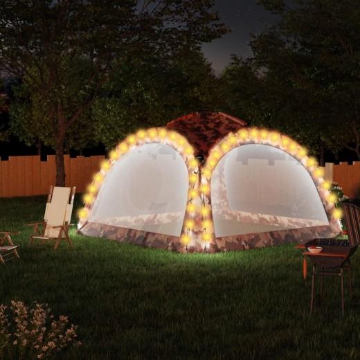 Partyzelt mit LED und 4 Seitenwänden 3,6x3,6x2,3 m Camouflage