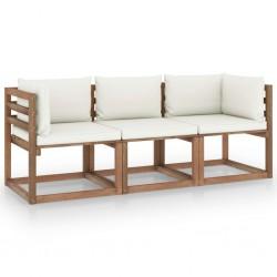 Garten-Palettensofa 3-Sitzer mit Kissen Cremeweiß Kiefernholz