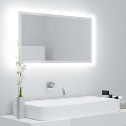 LED-Badspiegel Hochglanz-Weiß 80x8,5x37 cm Spanplatte