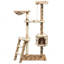 Katzen-Kratzbaum Sisal 150 cm Beige mit Pfoten-Aufdruck