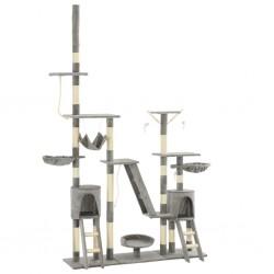 Katzen-Kratzbaum mit Sisal-Kratzsäulen 230 - 250 cm Grau