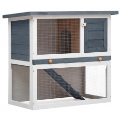 Kaninchenstall 1 Tür Grau Holz