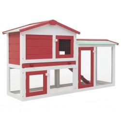 Großer Kaninchenstall Rot und Weiß 145 x 45 x 85 cm Holz
