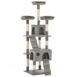 Katzen-Kratzbaum mit Sisal-Kratzsäulen 170 cm Grau