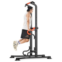 Power Tower Dip Station With Pull-up Bar Push-up Handles Height Adjustable No Backrest And Pull Ropes