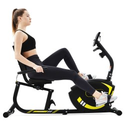 Recumbent Ergometer Fitness Exercise Bike With Pulse Sensors