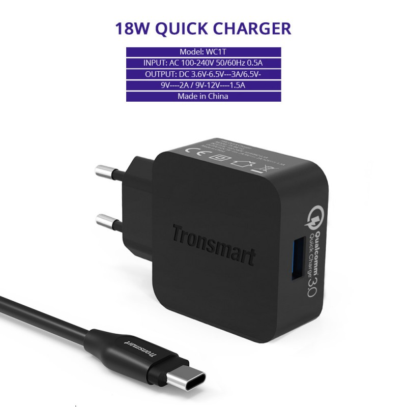 tronsmart quick charge 3 0 usb rapid wall charger with 1 8m usb type c cable geekmaxi com. Black Bedroom Furniture Sets. Home Design Ideas