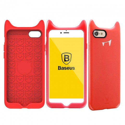 Baseus Little Devil Case Silicone Back Cover Fashion Soft Protective Case For iPhone 7 - Red