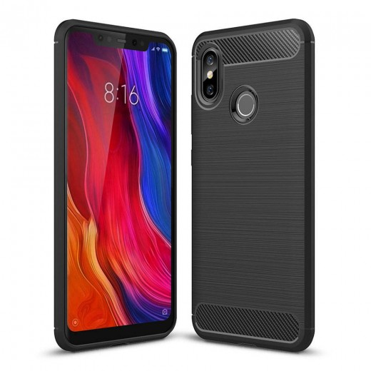 Xiaomi Mi8 High-quality Phone Case Brushed Carbon Fiber Drop-resistance - Black