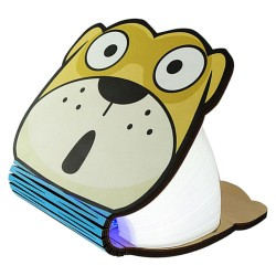 Wooden Foldable Book Dog Cartoon Shaped LED Night Light - Warm Light