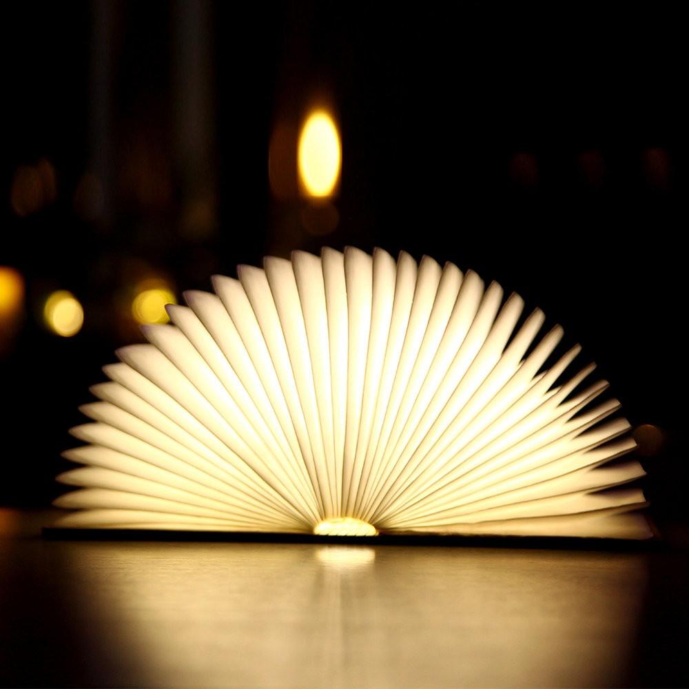 Wooden Foldable Book Shaped Light USB LED Book Bedside Lamp - Warm Light