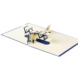 3D Pop-up Gift Card Christmas Card Birthday Gift Card - Blue Aircraft Pop Up Card