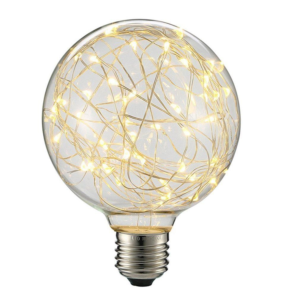 Edison G95 Gypsophila E27 Decorative Bulb Led Copper Wire Bulbs Christmas Decoration Lights - Warm White (EU Plug)
