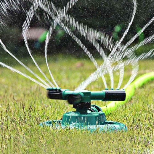 Automatic 360 Rotating Adjustable Garden Water Sprinklers with 3 Arm Sprayer - Green