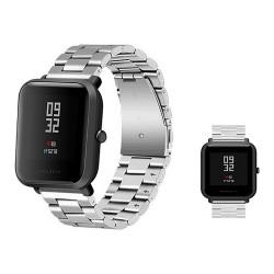 Correa de Reemplazo para Huami Amazfit Bip Steel Watchband Business Style - Plateado