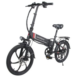 Samebike 20LVXD30 Portable Folding Smart Electric Moped Bike 350W Motor Max 35km/h 20 Inch Tire - Black