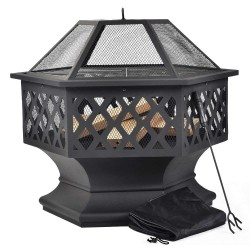 Merax BBQ Fire Pit Hexagon Multifunctional With Spark Protection Garden Metal Fire Basket