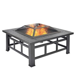 Merax BBQ Fire Pit Quadrilateral Multifunctional With Spark Protection Garden Metal Fire Basket