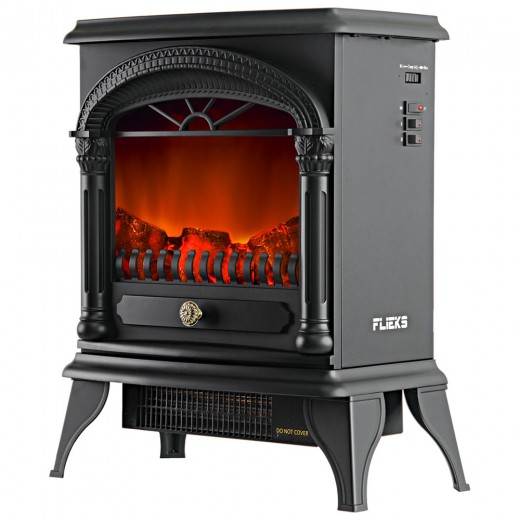 Flieks Electric Fireplace with fan heater and realistic flame 800-1970W stove fire Thermostat effect heater