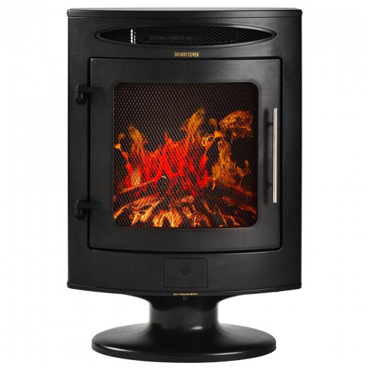 Electronic Fireplace With Free-standing Heater 1800W Adjustable LED Fame Effect