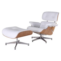 Eames Lounge Chair With Pedal Seat Adjustable Rotatable Leather Chair